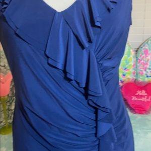 Jessica Howard stretchy navy blue ruffle dress